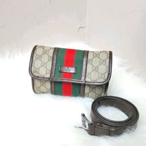 Auth GUCCI GG Shelly line Bum Bag waist Bag